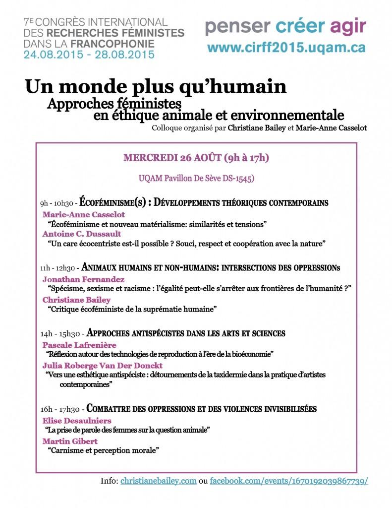 Affiche - Un monde plus qu humain Approches feministes en ethique animale et environnementale - CIRFF 2015_MOD